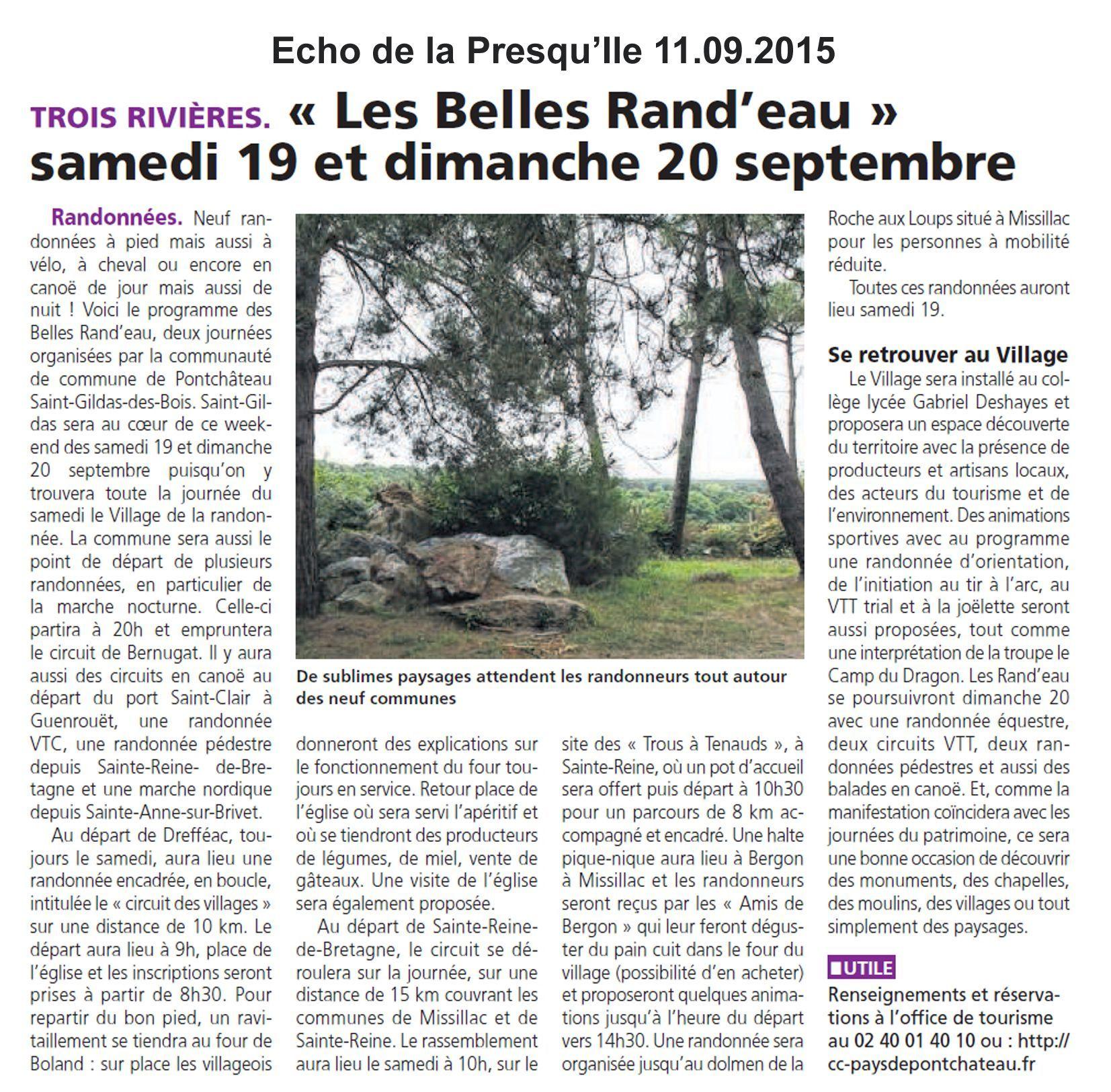 Belles randeau article 11.09.15 Echo