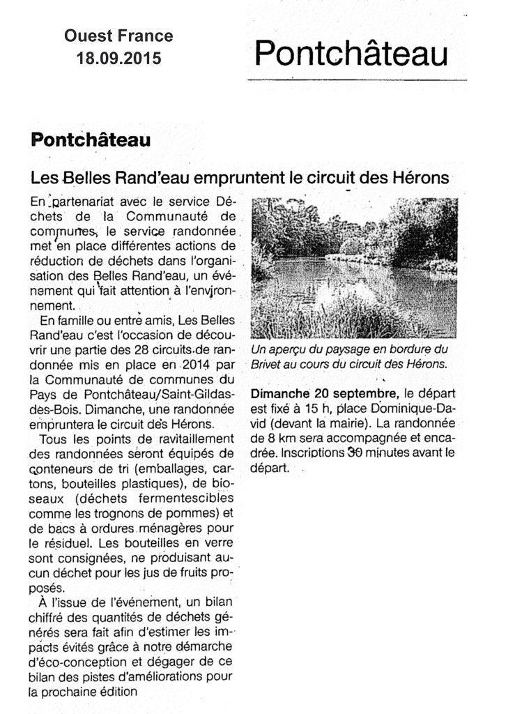 PRESSE - Belles rand'eau OF 18.9 Pontchateau
